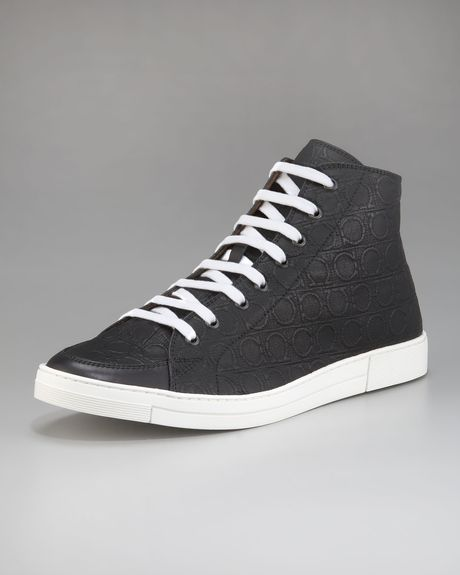 Ferragamo Ok Embossed Hi-top Sneaker in Black for Men - Lyst
