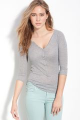 Free People Metallic Diamond Pointelle Henley - Lyst