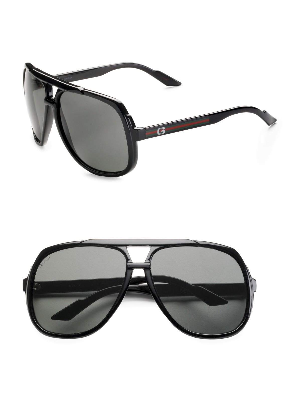 Gucci Navigator Sunglasses In Black For Men Lyst