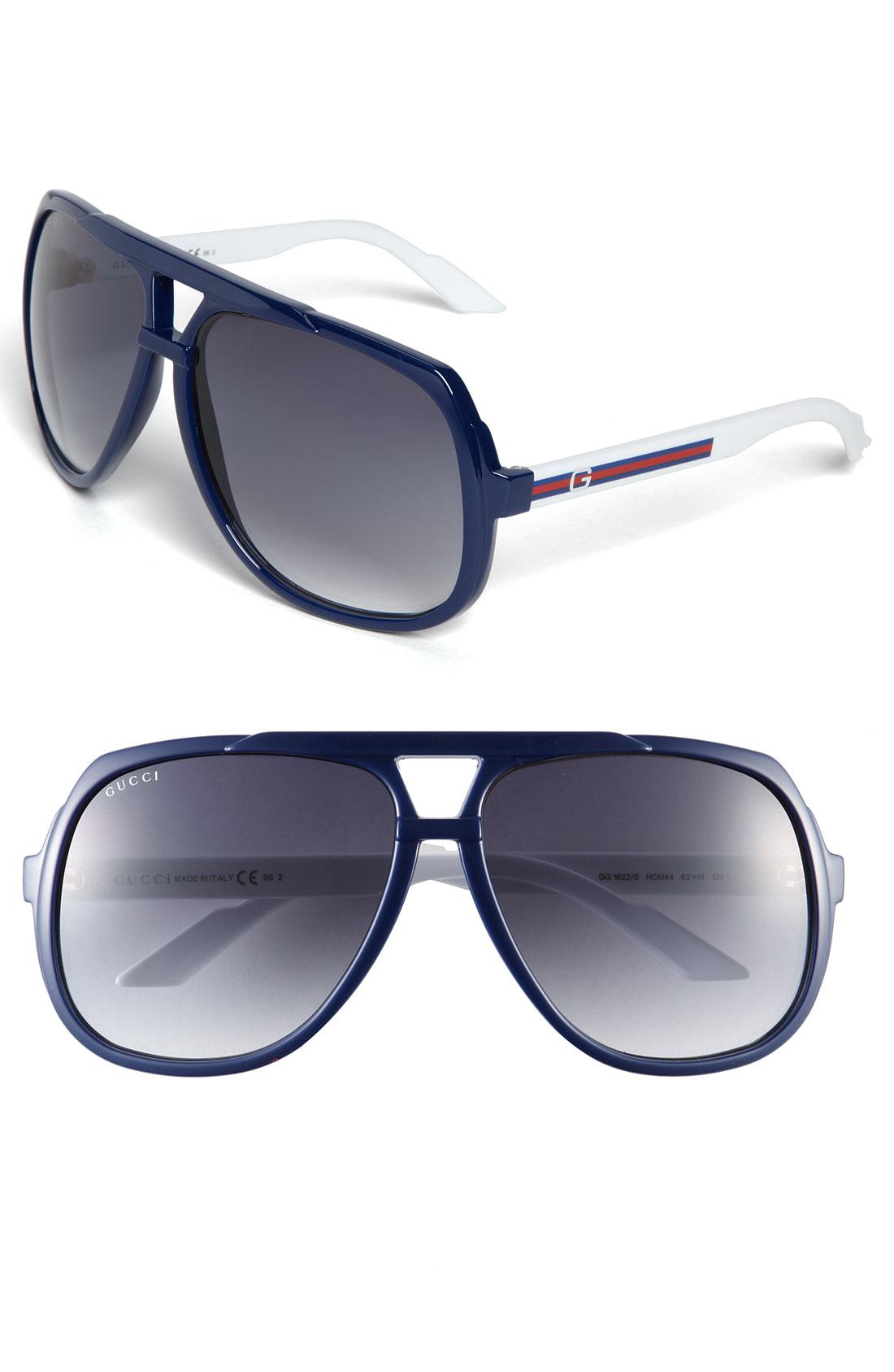 1c6dc2c1e83 Gucci Logo Stripe Aviator Sunglasses