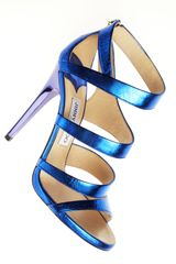 Jimmy Choo Gretchen Metallic Sandal in Blue - Lyst