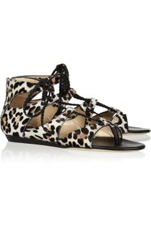 Jimmy Choo Leopard-print Calf Hair Sandals - Lyst