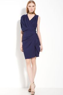 Lanvin Georgette Crepe Drape Dress - Lyst