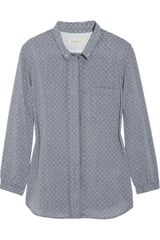 Levi's Pleated Polka Dot Cotton-chambray Top