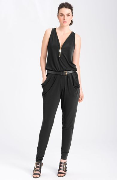 michael michael kors sleeveless zip front belted jumpsuit in black lyst. Black Bedroom Furniture Sets. Home Design Ideas