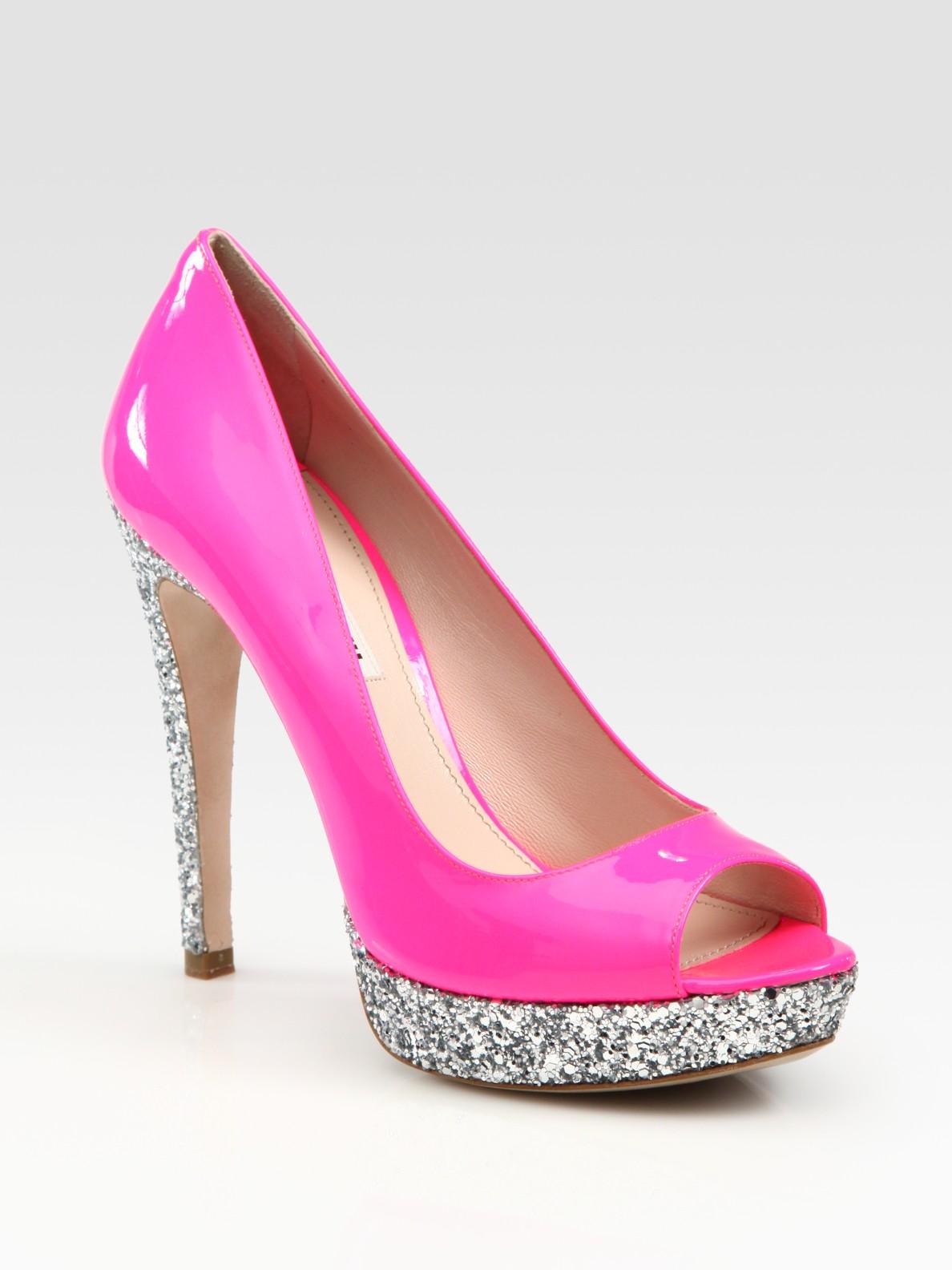 66ca977cc10 Lyst - Miu Miu Glitter Patent Leather Peep Toe Platform Pumps in Pink