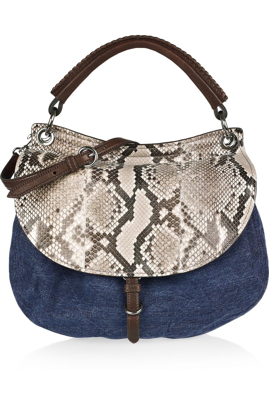 4528730145d9 Lyst - Miu Miu Denim and Python Shoulder Bag in Blue
