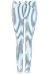 Moto Stripe Supersoft Leigh Jeans - Lyst