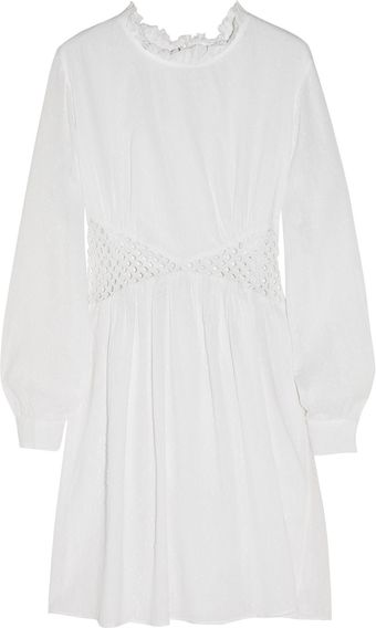 Nevenka Lattice-Detailed Textured-Cotton Dress - Lyst