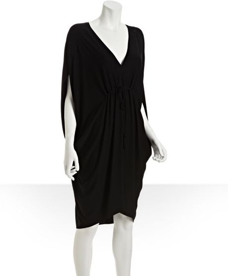Nicole Miller Black Vneck Cinched Waist Tunic Dress in Black - Lyst
