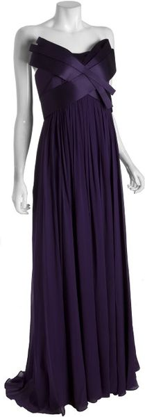 Notte By Marchesa Violet Silk Chiffon Strapless Sculpted Bodice Evening Gown - Lyst