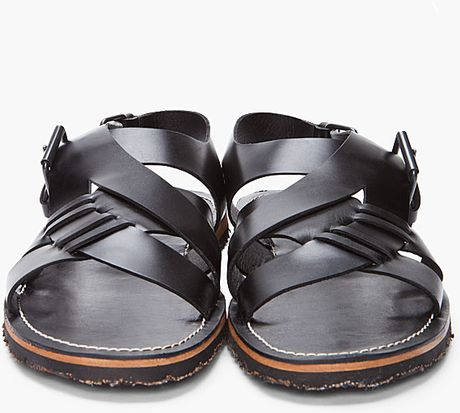 Opening Ceremony Black Leather Criss Cross Sandal In Black