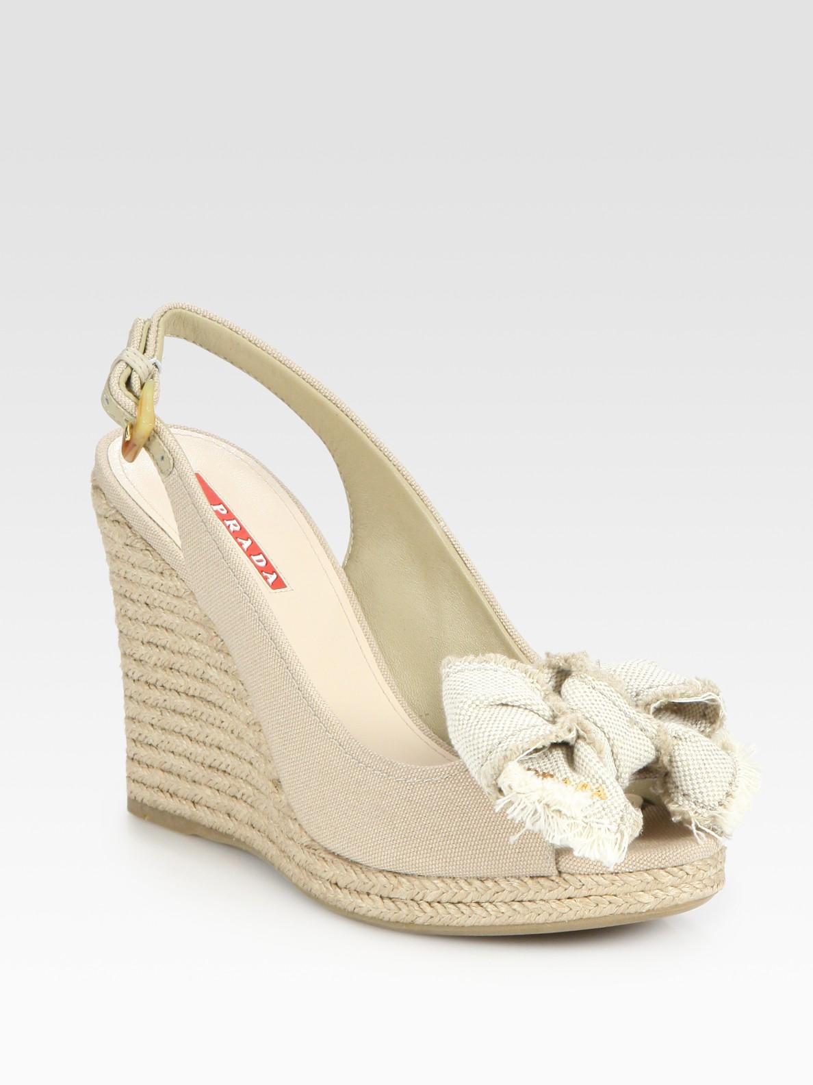 71286c6662ef Lyst - Prada Canvas Slingback Espadrille Wedge Sandals in Natural