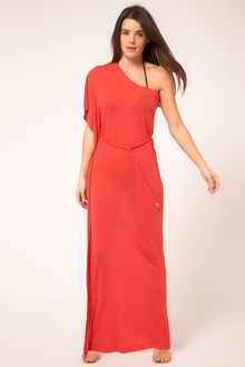River Island One Shoulder Jersey Tie Waist Maxi Dress - Lyst