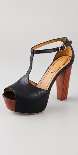 See By Chloé T Strap Platform Sandals in Black - Lyst