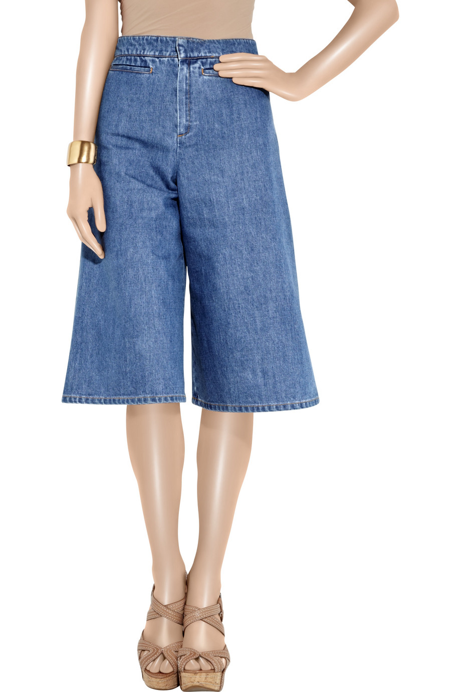 Stella mccartney Mid-rise Wide-leg Denim Shorts in Blue | Lyst