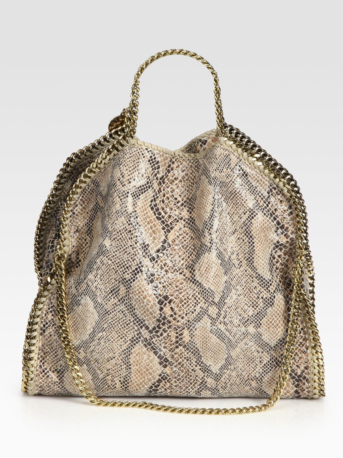 stella mccartney snake printed linen falabella foldover tote bag in beige camel lyst. Black Bedroom Furniture Sets. Home Design Ideas