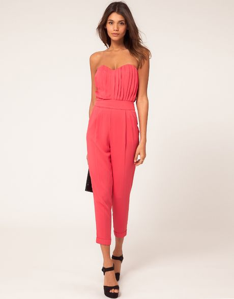 Asos Collection Asos Pleat Bust Jumpsuit in Pink (brightpink) - Lyst