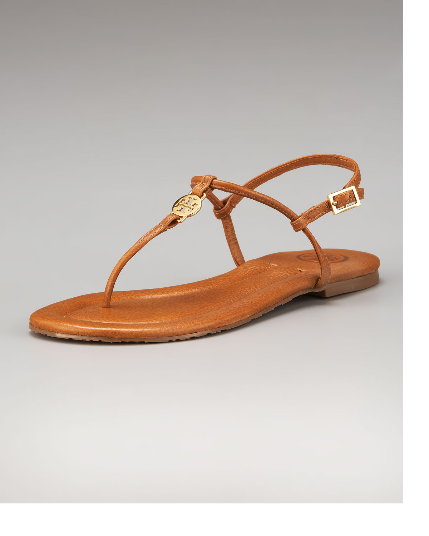 079e7b94341ab4 Lyst - Tory Burch Emmy Logo Thong Sandal in Brown
