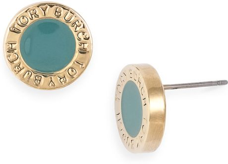 Tory Burch Cole Enamel Stud Earrings in Blue (storm blue) - Lyst