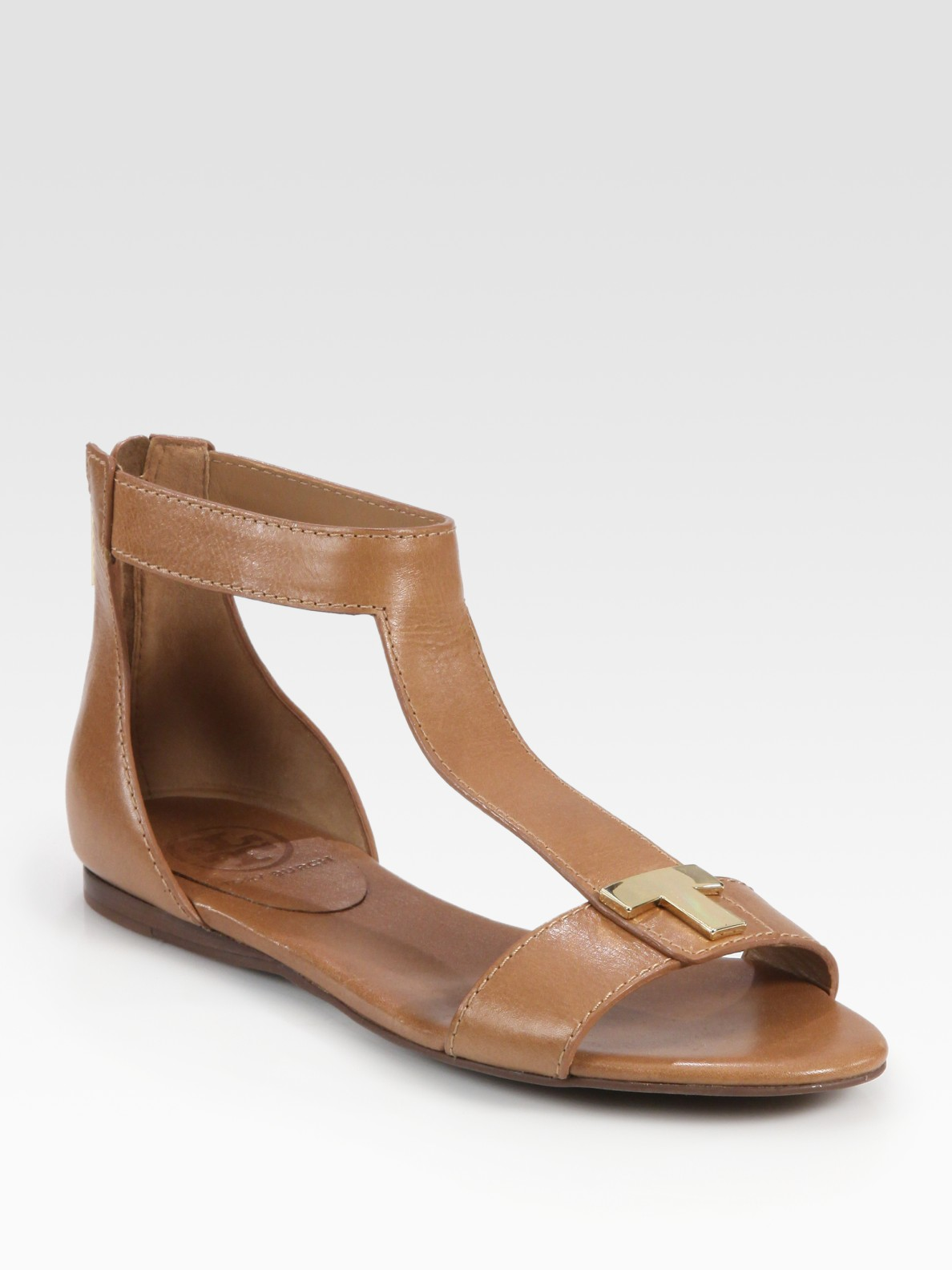 4a71e160e606 Lyst - Tory Burch Casey Leather T-strap Zip Sandals in Brown