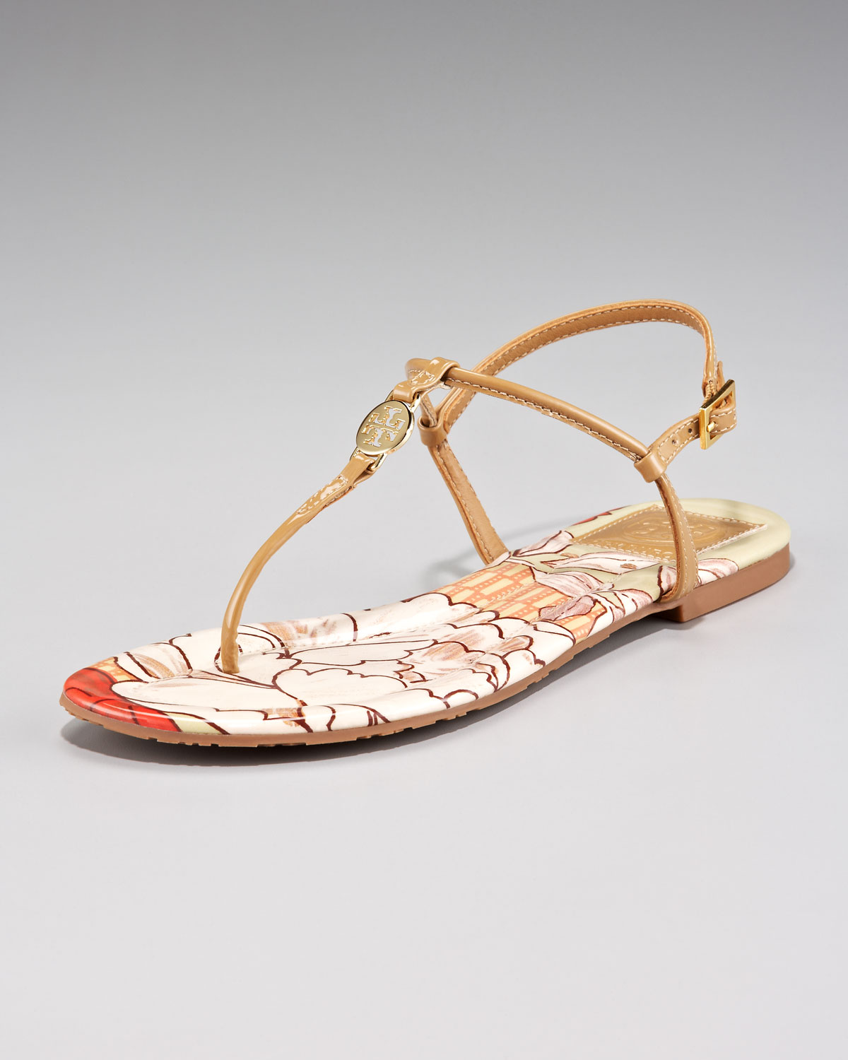 79d958a9d10bb8 Lyst - Tory Burch Emmy Print-insole Thong Sandal in White