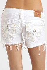 True Religion Keira Frayed Denim Shorts in White (grey) - Lyst