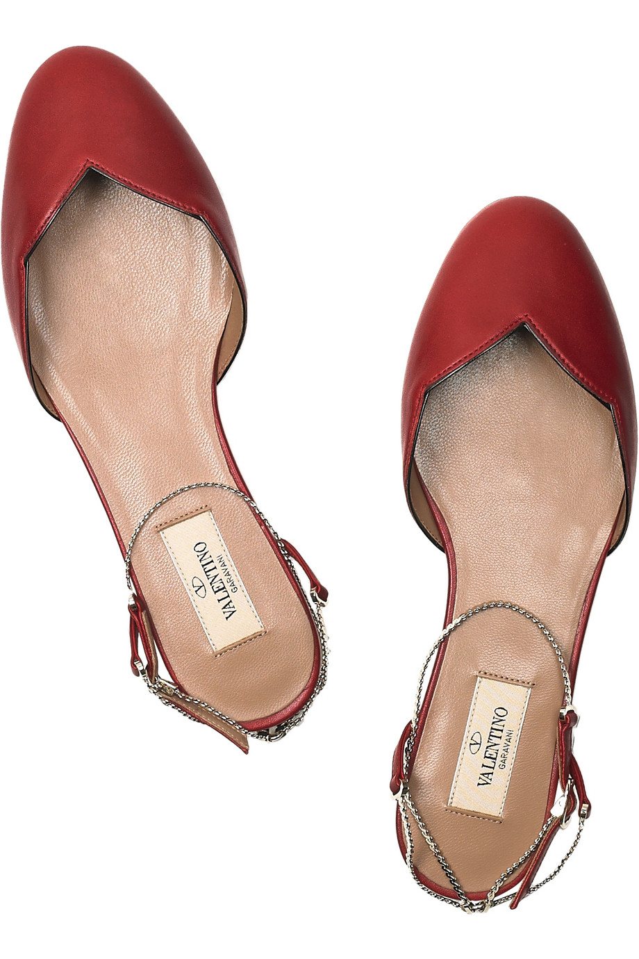 2f7602531 Valentino Chain-strap Scalloped Leather Flats in Red - Lyst