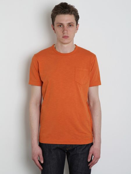Ymc Ymc Mens Slub Jersey Pocket Tshirt in Orange for Men - Lyst