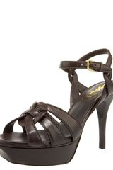 Saint Laurent Tribute Leather Sandal, 4 Heel - Lyst