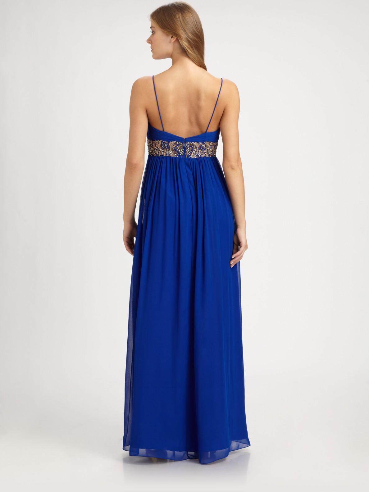 Aidan mattox Chiffon Gown in Blue | Lyst