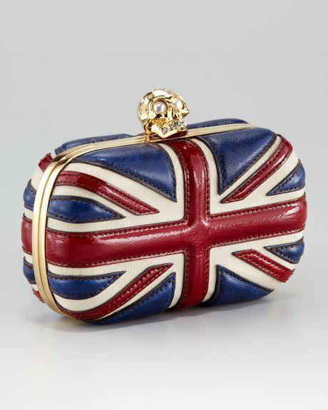 Alexander Mcqueen Britannia Skullclasp Clutch Bag in Red (classic)