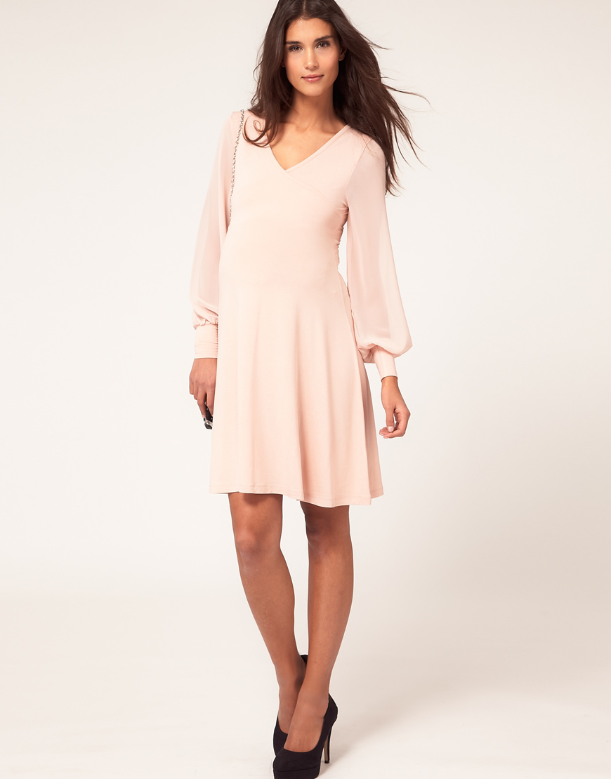 Asos maternity dress with wrap and chiffon sleeve in pink lyst gallery ombrellifo Image collections