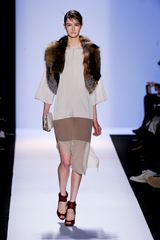 BCBGMAXAZRIA Fall 2012 Silk Satin Dress With Sheer Skirt - Lyst