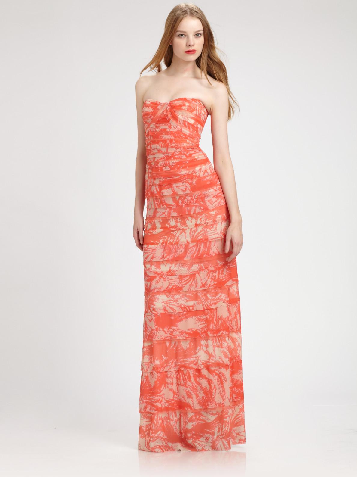 Lyst - BCBGMAXAZRIA Strapless Erika Gown in Orange 7f3f5e13f