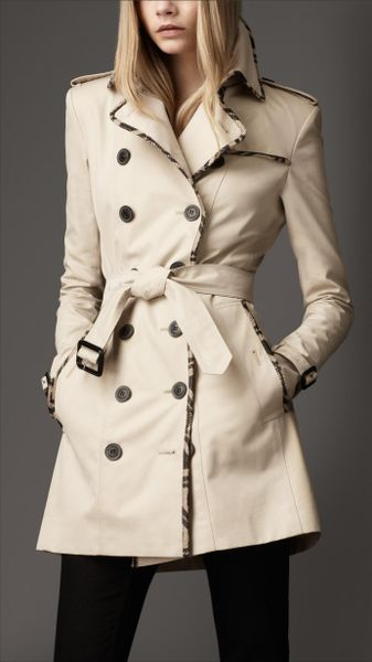 Burberry Check Edged Trench Coat in Beige (trench)