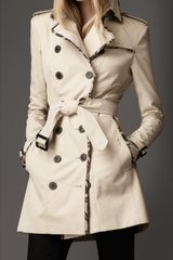 Burberry Check Edged Trench Coat in Beige (trench) - Lyst