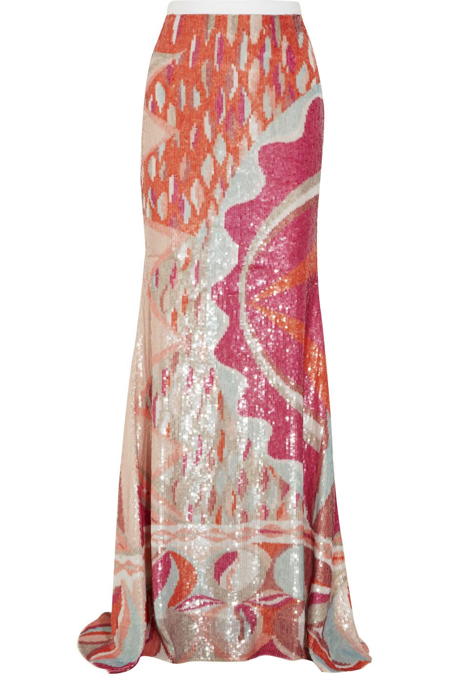 Emilio pucci Sequined Silk Maxi Skirt | Lyst