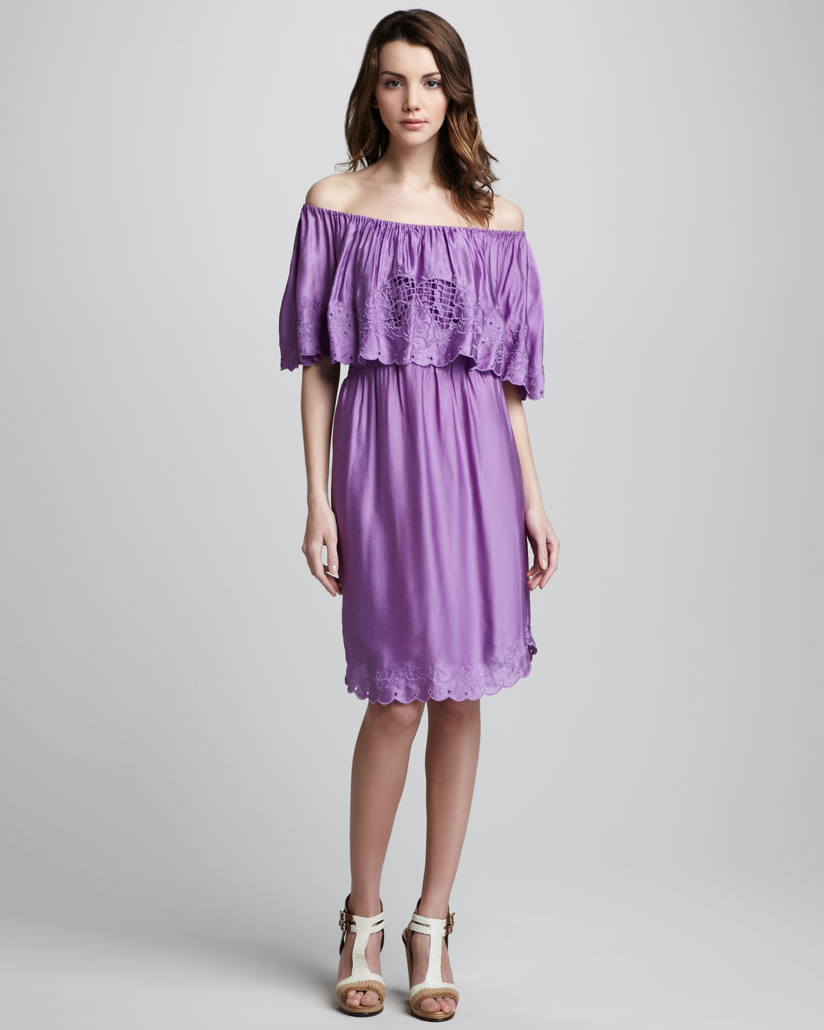 534018a26e6b Lyst - Free People Off-the-shoulder Dress in Purple
