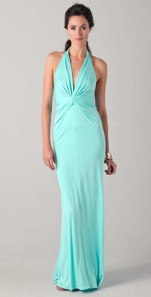 Issa Long Sleeveless Halter Dress in Green (ice) - Lyst