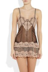La Perla Lace and Tulle Chemise in Pink (blush) - Lyst