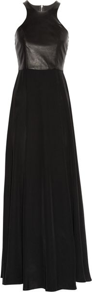 Mason by Michelle Mason Washed-silk Crepe De Chine and Leather Gown - Lyst