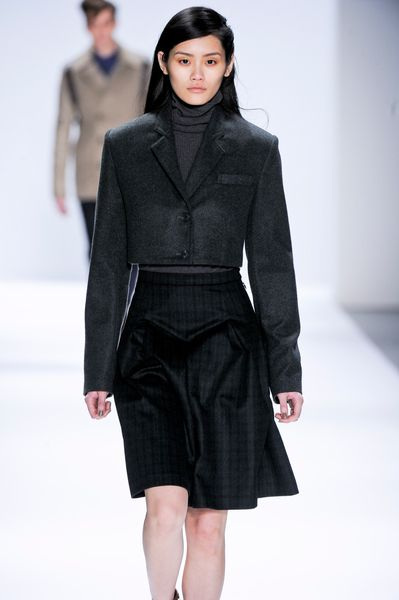 Richard Chai Fall 2012 Cropped Wool Jacket in Gray (grey) - Lyst