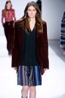 Richard Chai Fall 2012 Striped Wool Knee Length Skirt - Lyst