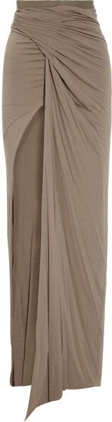 Rick Owens Lilies Draped Stretchjersey Maxi Skirt in Pink (flesh)