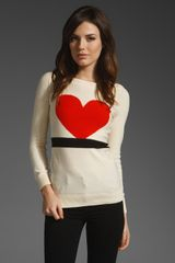 Sonia By Sonia Rykiel Sweater with Heart in Ecru/ Ecarlate/ Noir - Lyst