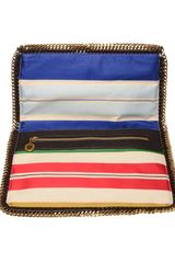 Stella Mccartney Falabella Silk Striped Foldover Clutch in Multicolor (multi) - Lyst