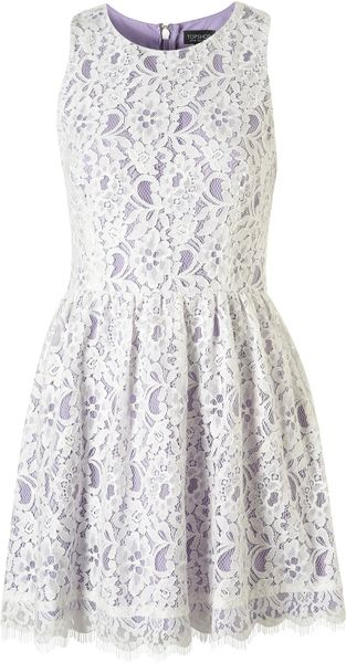 Topshop Sleeveless Lace Dress - Lyst