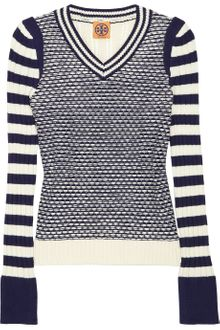 Tory Burch Alarice Contrast-striped Cotton Sweater - Lyst