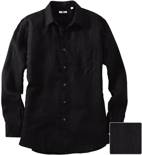 Uniqlo men premium linen long sleeve shirt in black for for Uniqlo premium t shirt